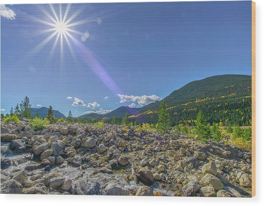Star Over Creek Bed Rocky Mountain National Park Colorado Wood Print