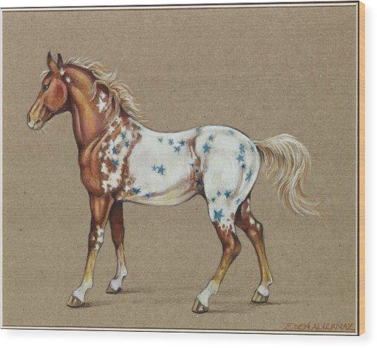 Star Spangled Horse Wood Print by Eden Alvernaz