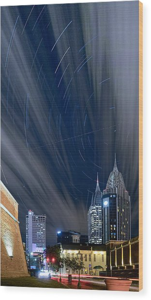 Star Trails And City Lights Wood Print