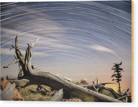 Star Trails By Fort Grant Wood Print