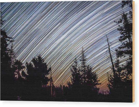 Star Trails From Mt. Graham Wood Print