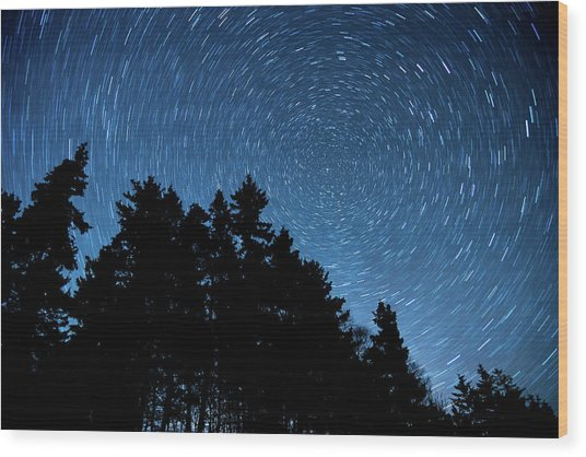 Star Trails In Acadia Wood Print