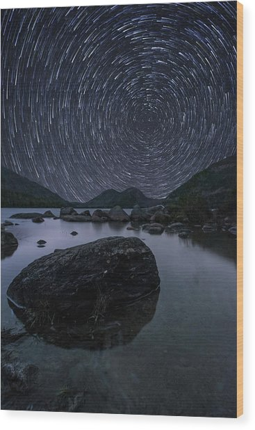 Star Trails Over Jordan Pond Wood Print
