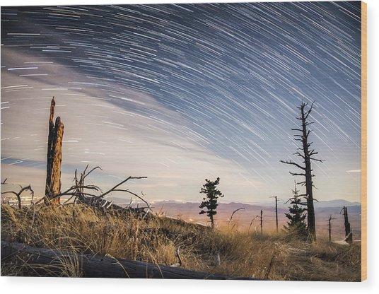 Star Trails Over Mt. Graham Wood Print