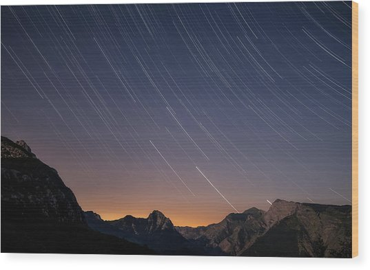 Star Trails Over The Apuan Alps Wood Print