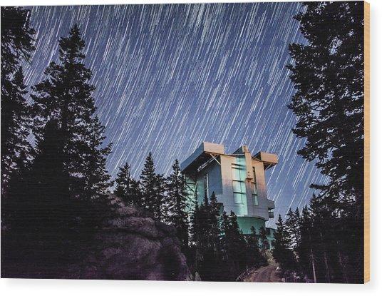 Star Trails Over The Large Binocular Telescope Wood Print