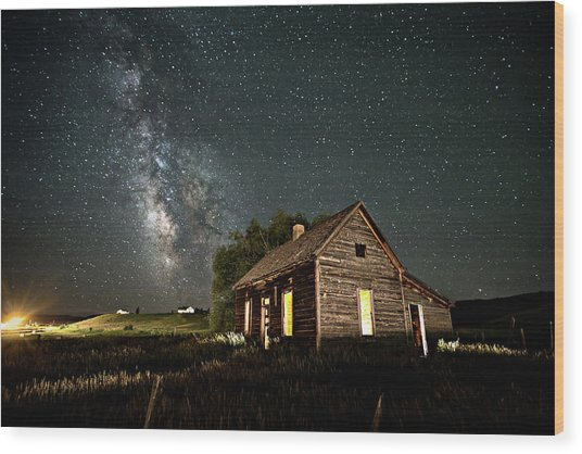 Star Valley Cabin Wood Print