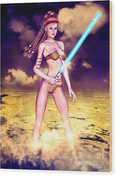 Star Wars Inspired Fantasy Pin-up Girl Wood Print