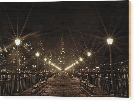 Starburst Lights Wood Print
