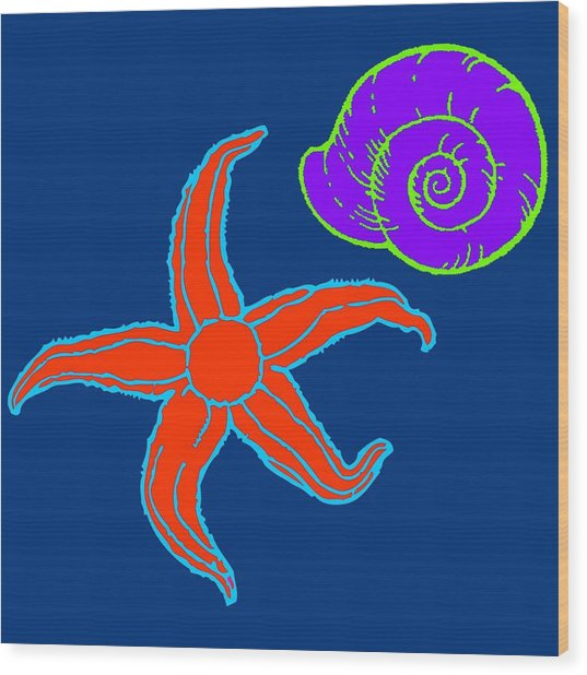 Wood Print featuring the digital art Starfish And Shell by Jennifer Hotai