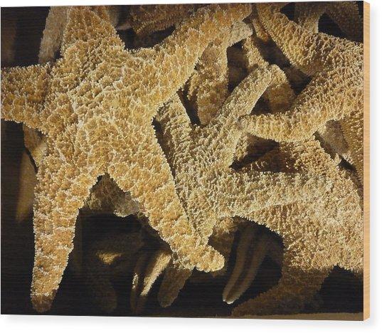 Starfish On Black Wood Print