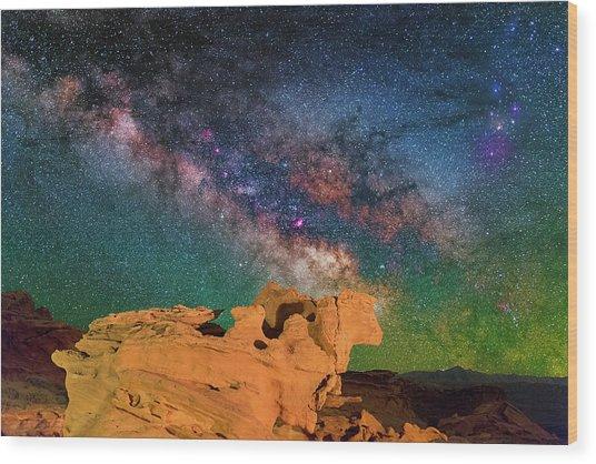 Stargazing Bull Wood Print
