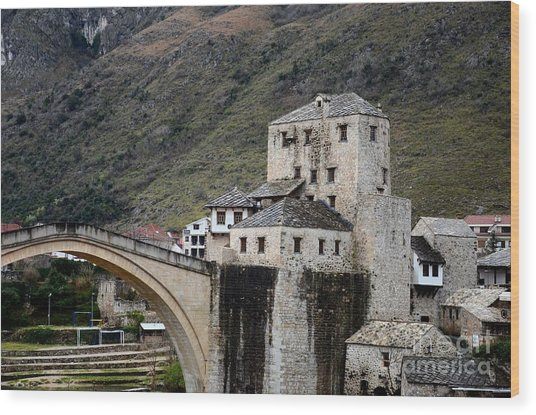 Stari Most Ottoman Bridge And Embankment Fortification Mostar Bosnia Herzegovina Wood Print