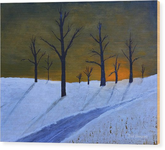 Stark Winter Sunset Wood Print
