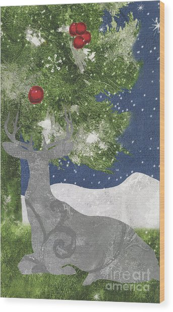 Starlight Christmas X Wood Print