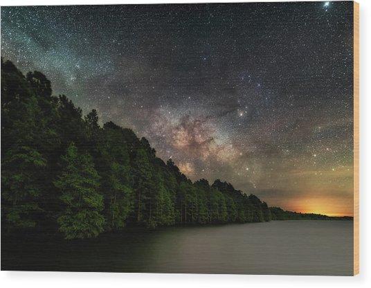 Starlight Swimming Wood Print
