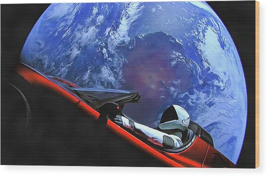 Starman In Tesla With Planet Earth Wood Print