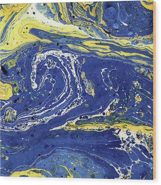 Wood Print featuring the painting Starry Night Abstract by Menega Sabidussi