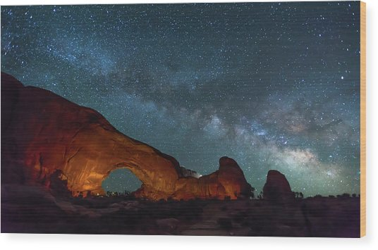 Starry Night At North Window Rock Wood Print