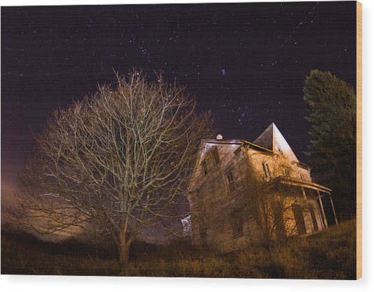 Starry Night Farmhouse Wood Print