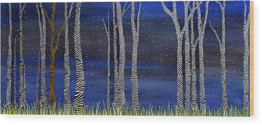 Starry Night In The Zebra Forrest Wood Print