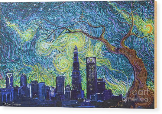 Starry Night Over The Queen City Wood Print