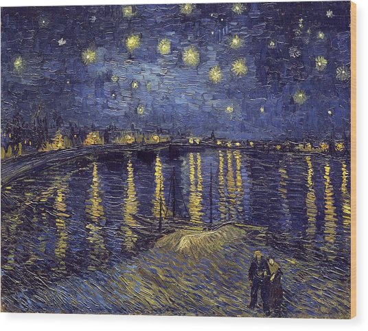 Wood Print featuring the painting Starry Night Over The Rhone by Van Gogh