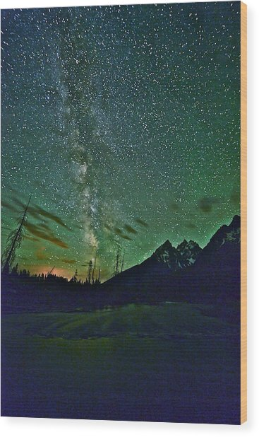 Starry Night Over The Tetons Wood Print