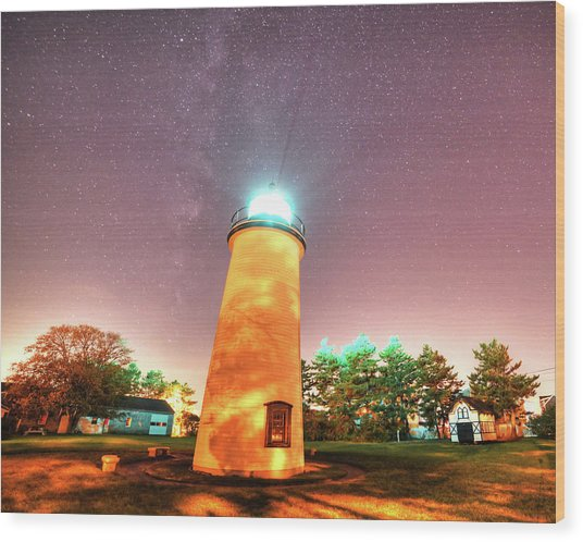 Starry Sky Over The Newburyport Harbor Light Wood Print
