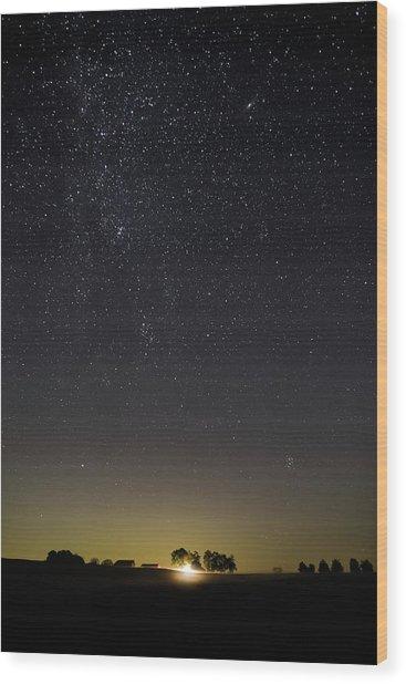 Starry Sky Over Virginia Farm Wood Print