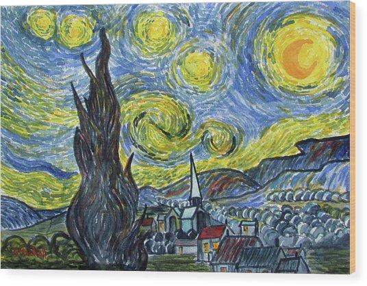Starry, Starry Night Wood Print