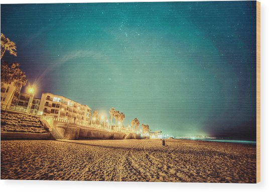 Starry Starry Pacific Beach Wood Print