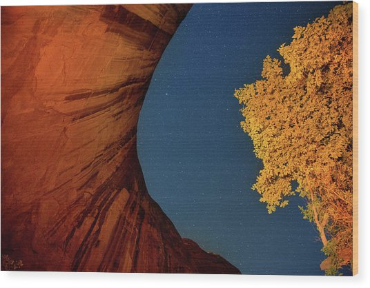 Stars Over Canyon Wood Print