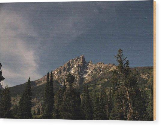 Stars Over Grand Teton Wood Print