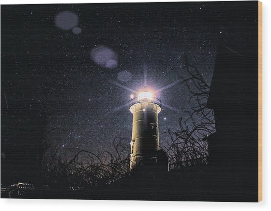 Stars Over Nobska Lighthouse Wood Print
