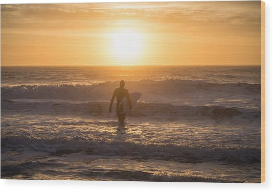 Start The Day Surfing Wood Print