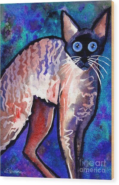 Startled Cornish Rex Cat Wood Print