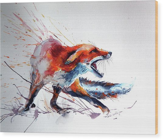 Startled Red Fox Wood Print