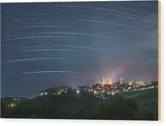 Startrails Over San Gimignano Wood Print