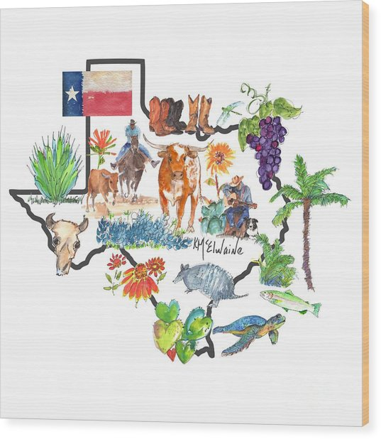 State Of Texas As I Know It Wood Print
