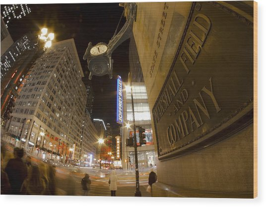 State Street Night Scene Wood Print