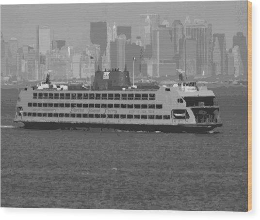 Staten Island Ferry Bw16 Wood Print