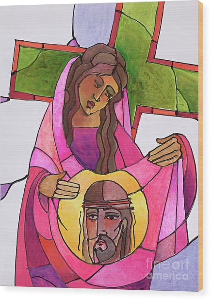 Stations Of The Cross - 06 St. Veronica Wipes The Face Of Jesus - Mmvew Wood Print