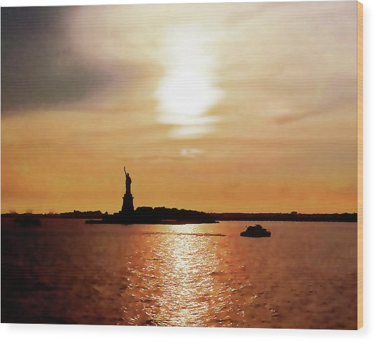 Statue Of Liberty At Sunset Wood Print
