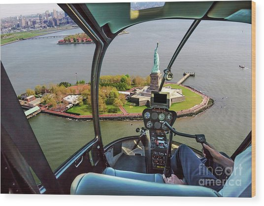 Statue Of Liberty Helicopter Wood Print