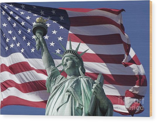Wood Print featuring the photograph Statue Of Liberty New York  by Juergen Held