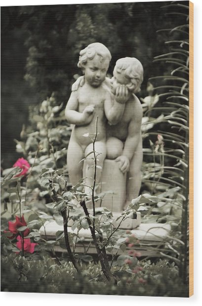 Statue Of Love Wood Print