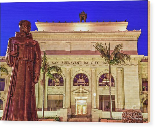 Statue Of Saint Junipero Serra In Front Of San Buenaventura City Hall Wood Print