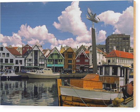 Stavanger Harbor Wood Print