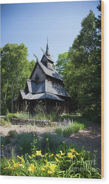 Stavkirke Church Wood Print
